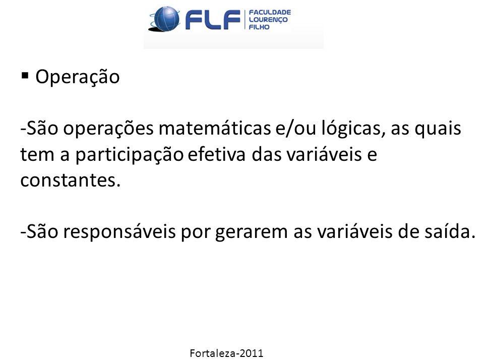 Fortaleza-2011  Operação -São operações matemáticas e/ou lógicas, as quais tem a participação efetiva das variáveis e constantes.