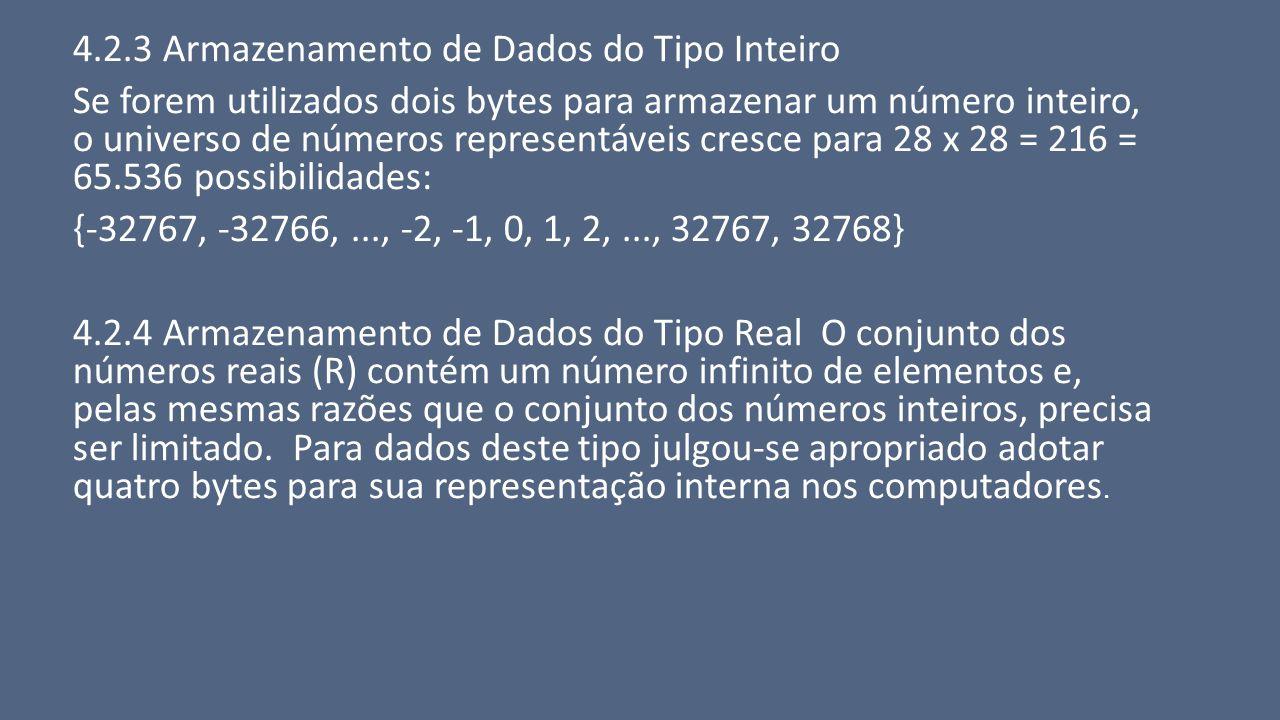 4.2.3 Armazenamento de Dados do Tipo Inteiro Se forem utilizados dois bytes para armazenar um número inteiro, o universo de números representáveis cre