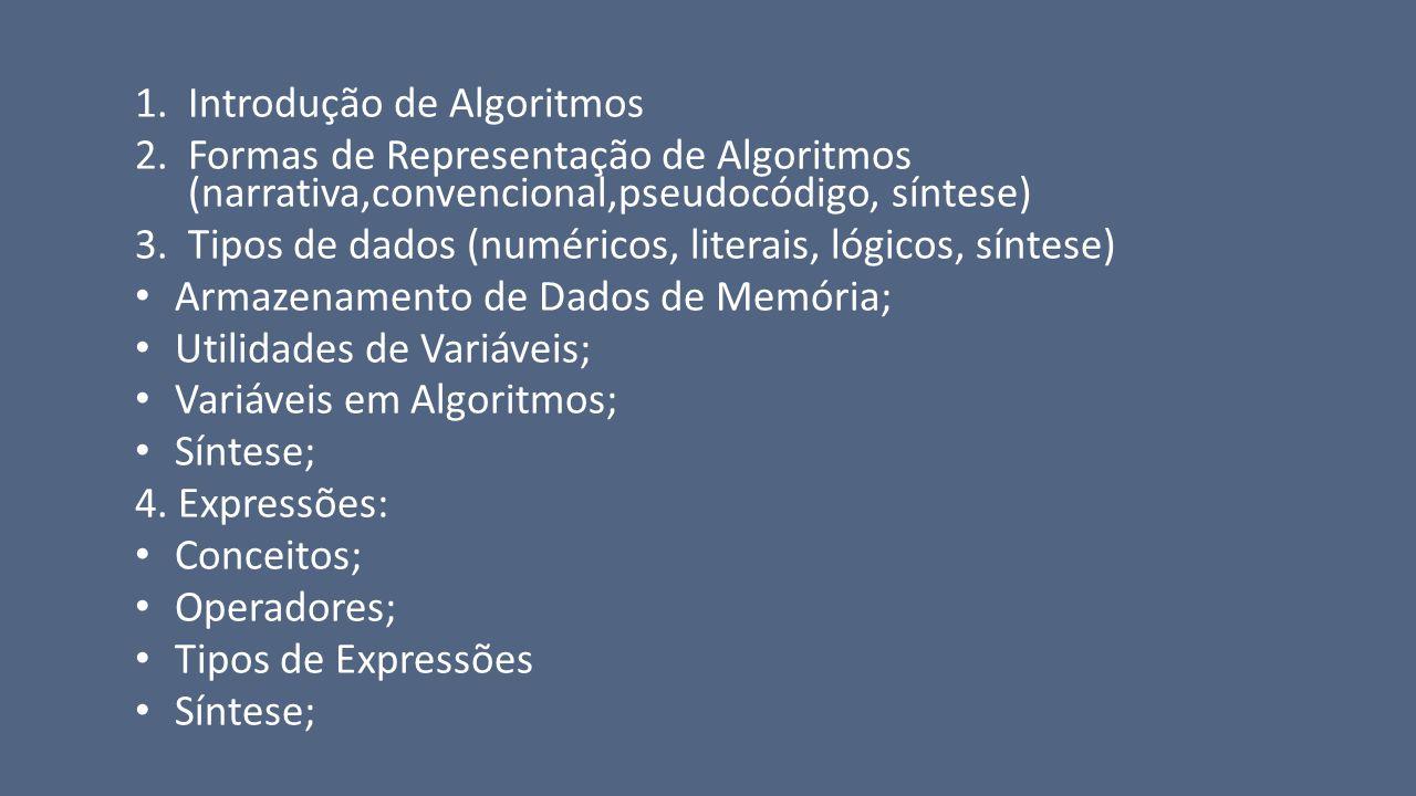 1.Introdução de Algoritmos 2.Formas de Representação de Algoritmos (narrativa,convencional,pseudocódigo, síntese) 3.Tipos de dados (numéricos, literai