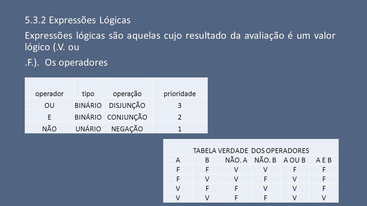 5.3.2 Expressões Lógicas Expressões lógicas são aquelas cujo resultado da avaliação é um valor lógico (.V. ou.F.). Os operadores operadortipooperaçãop