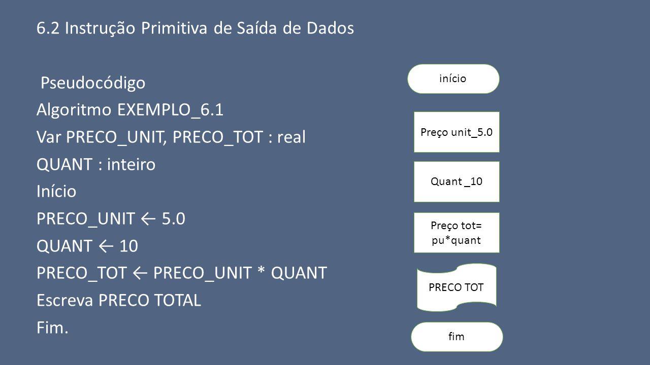 6.2 Instrução Primitiva de Saída de Dados Pseudocódigo Algoritmo EXEMPLO_6.1 Var PRECO_UNIT, PRECO_TOT : real QUANT : inteiro Início PRECO_UNIT ← 5.0