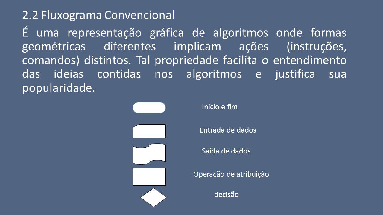 2.2 Fluxograma Convencional É uma representação gráfica de algoritmos onde formas geométricas diferentes implicam ações (instruções, comandos) distint