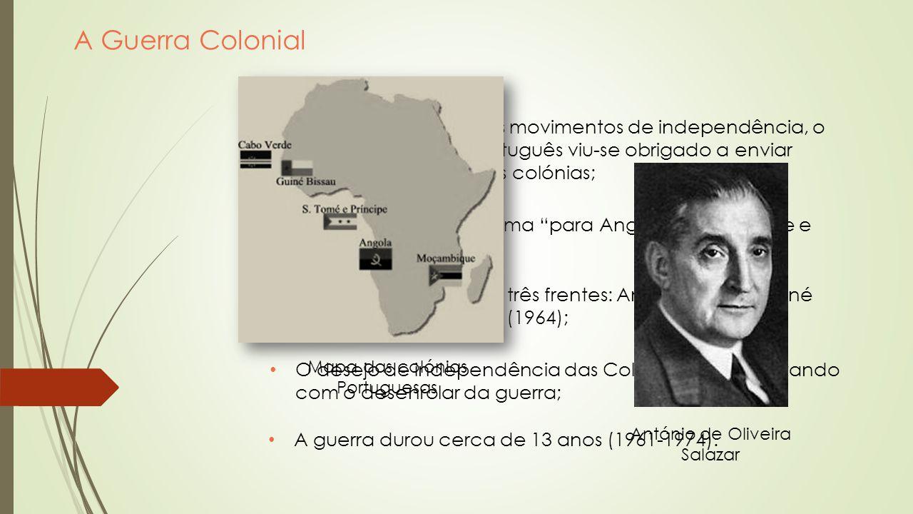Consequências da Guerra Aumentaram os custos económicos relacionados com as Forças Armadas Portuguesas; Elevado número de perdas humanas; Elevado número de feridos e incapacitados; A Guerra afetou também a população civil.