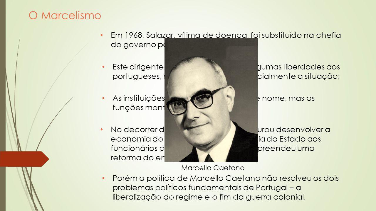 O Marcelismo Em 1968, Salazar, vítima de doença, foi substituído na chefia do governo por Marcello Caetano; Este dirigente, concedeu, de início, algum