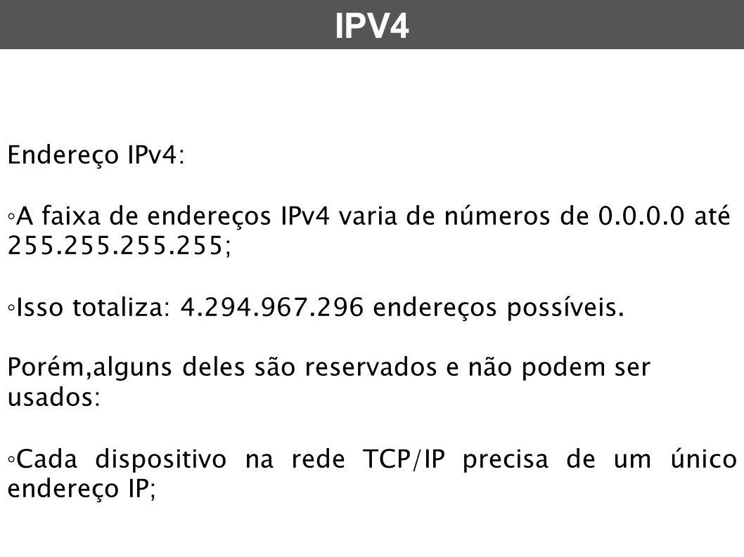 Endereço IPv4: ◦ A faixa de endereços IPv4 varia de números de 0.0.0.0 até 255.255.255.255; ◦ Isso totaliza: 4.294.967.296 endereços possíveis. Porém,