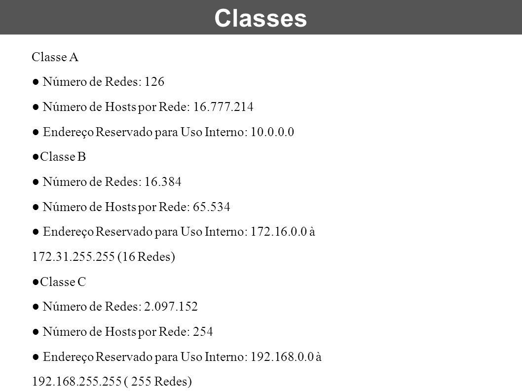 Classe A ● Número de Redes: 126 ● Número de Hosts por Rede: 16.777.214 ● Endereço Reservado para Uso Interno: 10.0.0.0 ●Classe B ● Número de Redes: 16