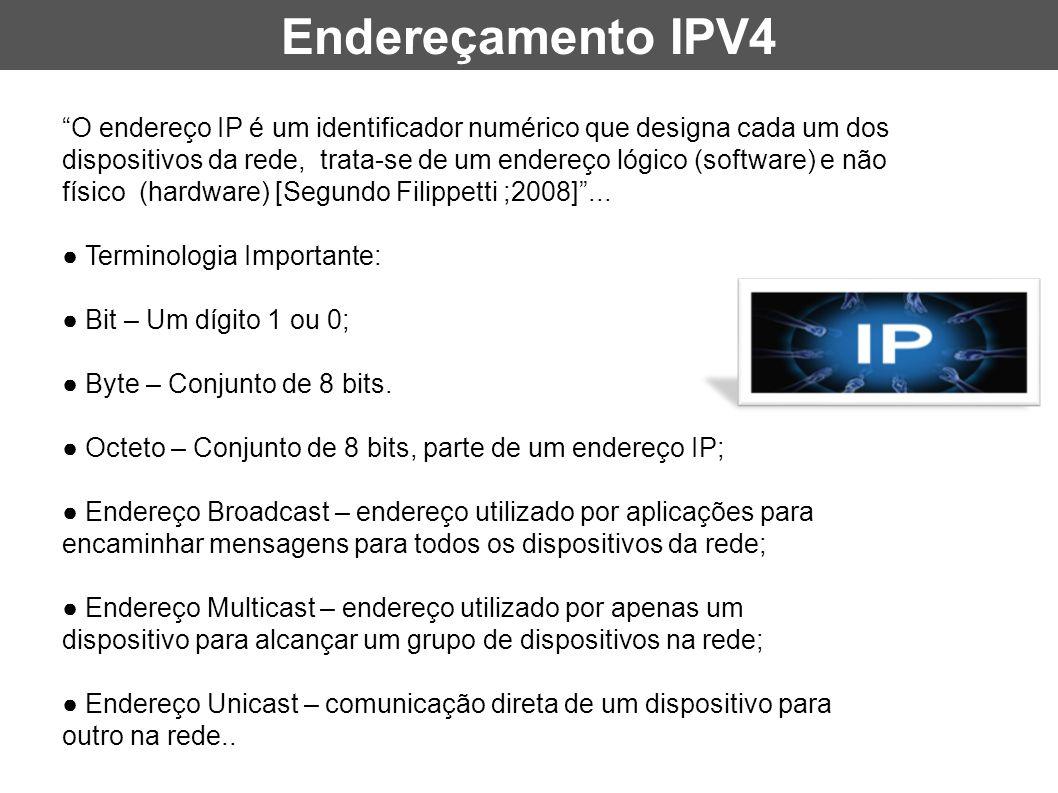 """""""O endereço IP é um identificador numérico que designa cada um dos dispositivos da rede, trata-se de um endereço lógico (software) e não físico (hardw"""