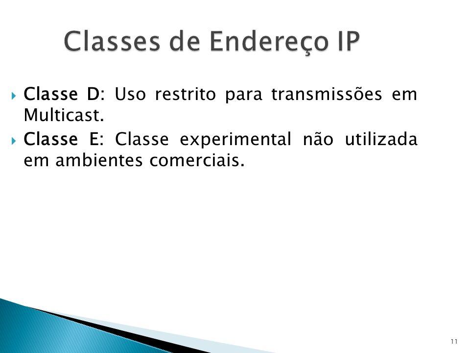 11  Classe D: Uso restrito para transmissões em Multicast.  Classe E: Classe experimental não utilizada em ambientes comerciais. Classes de Endereço