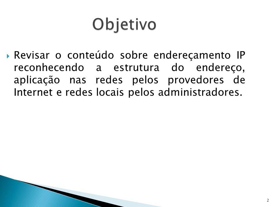2 Objetivo  Revisar o conteúdo sobre endereçamento IP reconhecendo a estrutura do endereço, aplicação nas redes pelos provedores de Internet e redes locais pelos administradores.