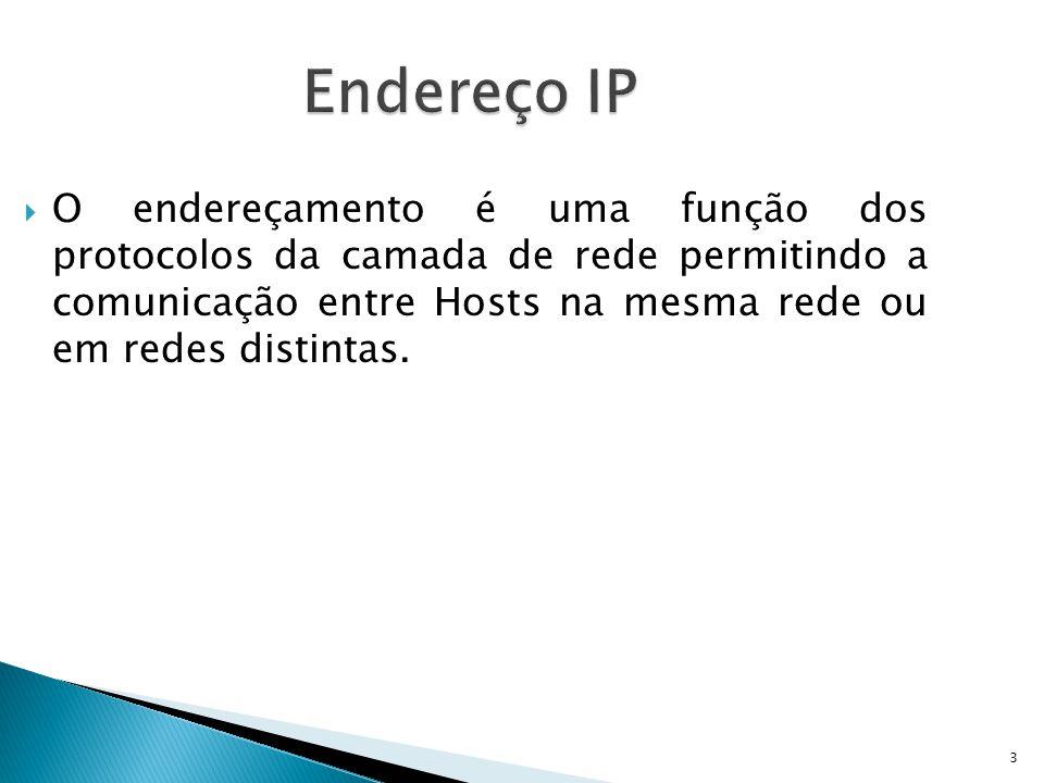 3 Endereço IP  O endereçamento é uma função dos protocolos da camada de rede permitindo a comunicação entre Hosts na mesma rede ou em redes distintas