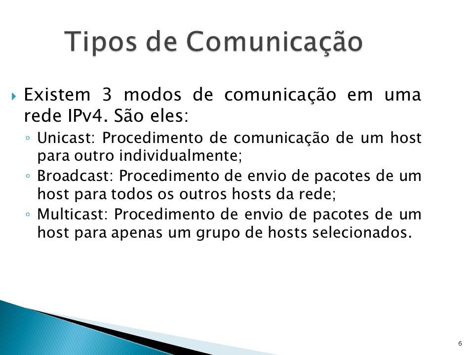 6 Tipos de Comunicação  Existem 3 modos de comunicação em uma rede IPv4. São eles: ◦ Unicast: Procedimento de comunicação de um host para outro indiv