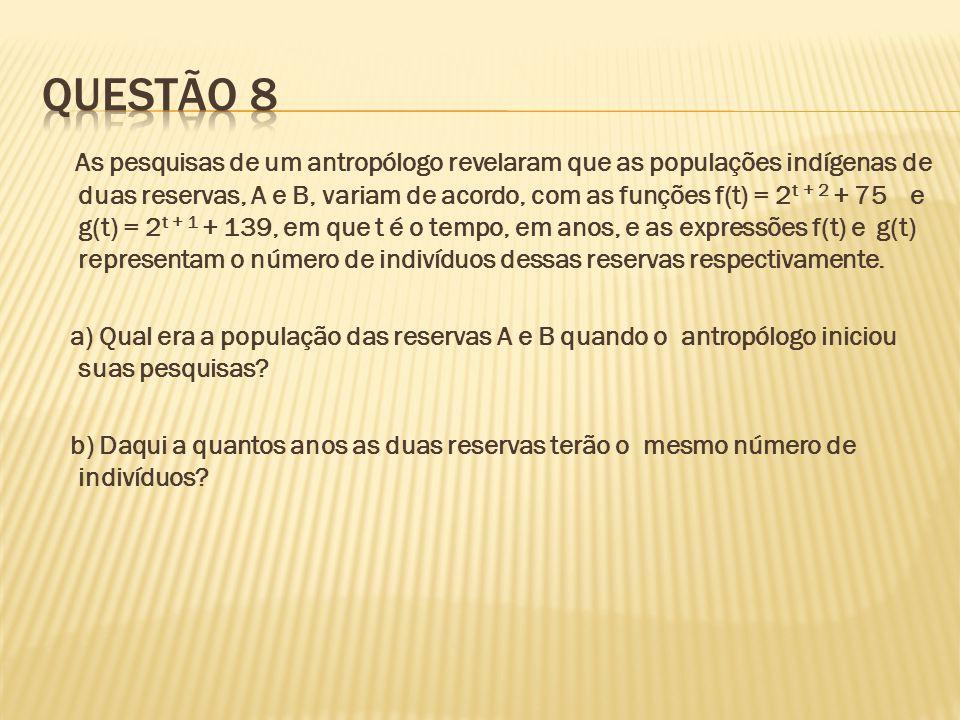As pesquisas de um antropólogo revelaram que as populações indígenas de duas reservas, A e B, variam de acordo, com as funções f(t) = 2 t + 2 + 75 e g