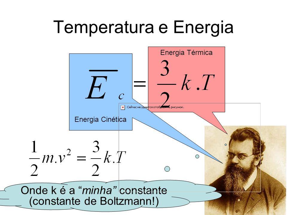 """Energia Térmica Energia Cinética Temperatura e Energia Onde k é a """"minha"""" constante (constante de Boltzmann!)"""
