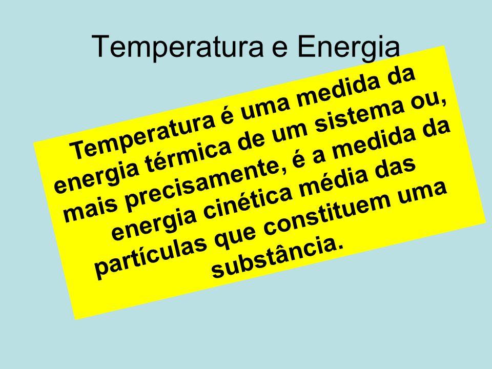 Temperatura e Energia Temperatura é uma medida da energia térmica de um sistema ou, mais precisamente, é a medida da energia cinética média das partíc