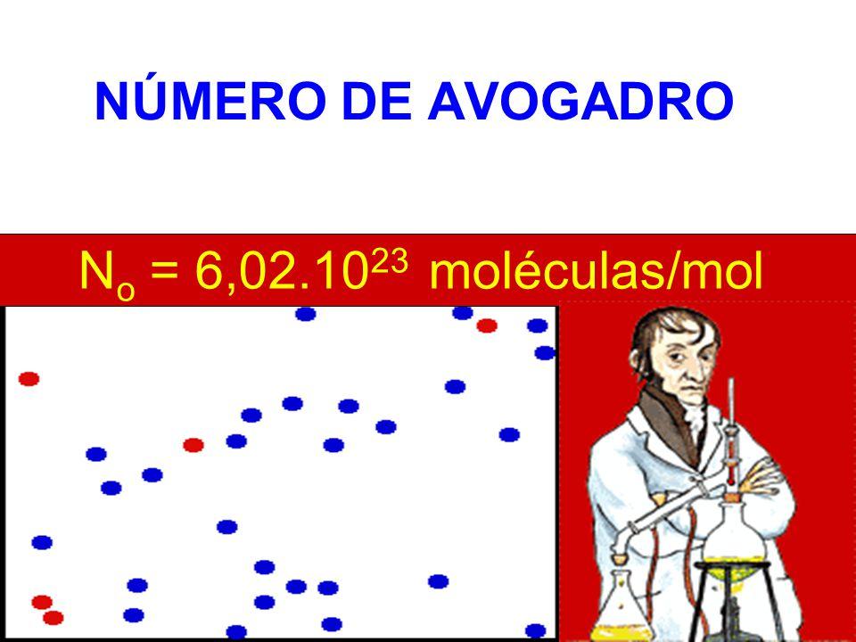 N o = 6,02.10 23 moléculas/mol NÚMERO DE AVOGADRO