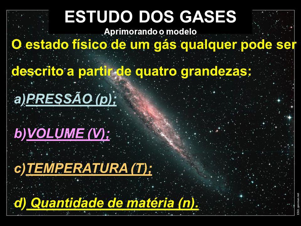 ESTUDO DOS GASES Aprimorando o modelo a)PRESSÃO (p); b)VOLUME (V); c)TEMPERATURA (T); d) Quantidade de matéria (n). O estado físico de um gás qualquer