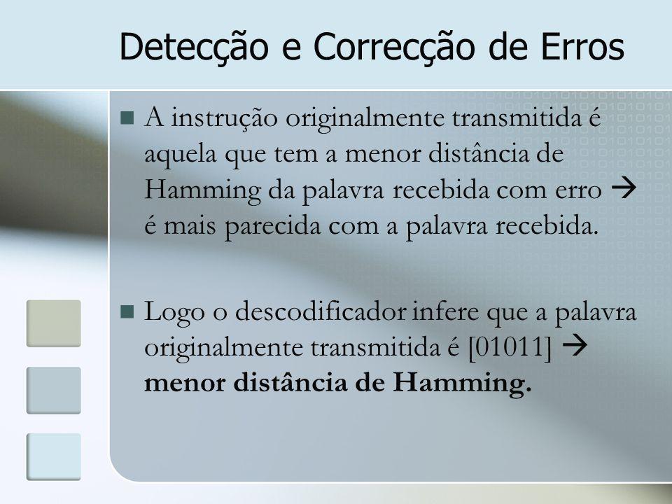 Detecção e Correcção de Erros A instrução originalmente transmitida é aquela que tem a menor distância de Hamming da palavra recebida com erro  é mai