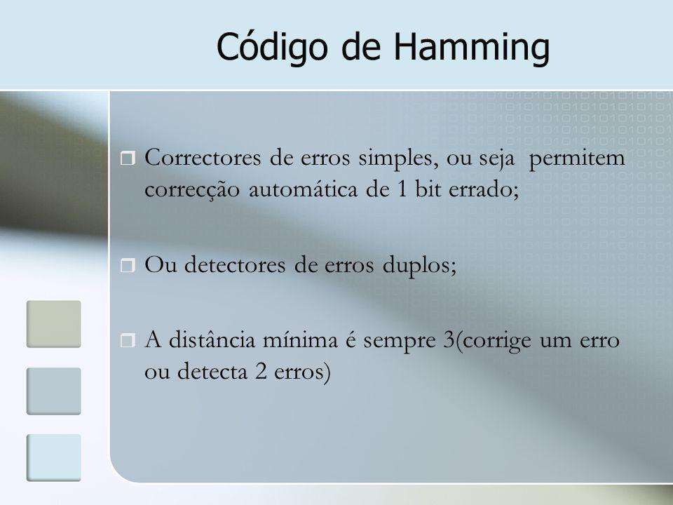 Código de Hamming  Correctores de erros simples, ou seja permitem correcção automática de 1 bit errado;  Ou detectores de erros duplos;  A distânci