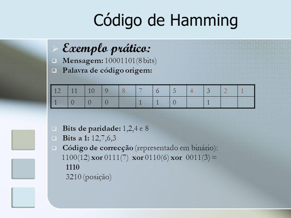 Código de Hamming  Exemplo prático:  Mensagem: 10001101(8 bits)  Palavra de código origem:  Bits de paridade: 1,2,4 e 8  Bits a 1: 12,7,6,3  Cód