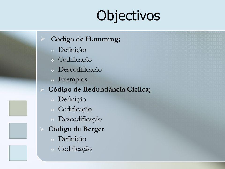 Objectivos  Código de Hamming; o Definição o Codificação o Descodificação o Exemplos  Código de Redundância Cíclica; o Definição o Codificação o Des