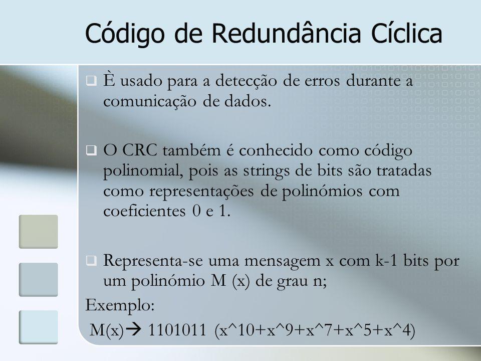 Código de Redundância Cíclica  È usado para a detecção de erros durante a comunicação de dados.  O CRC também é conhecido como código polinomial, po