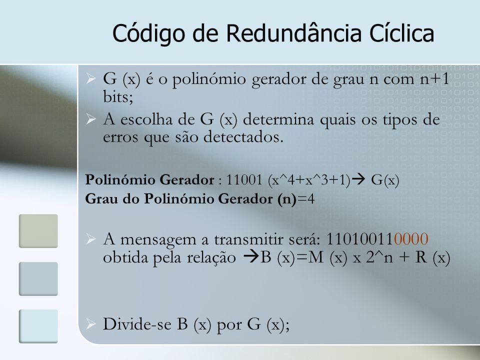 Código de Redundância Cíclica  G (x) é o polinómio gerador de grau n com n+1 bits;  A escolha de G (x) determina quais os tipos de erros que são det