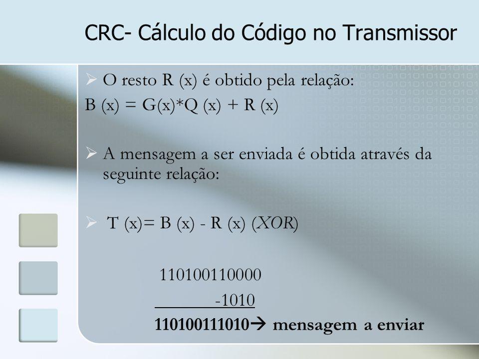 CRC- Cálculo do Código no Transmissor  O resto R (x) é obtido pela relação: B (x) = G(x)*Q (x) + R (x)  A mensagem a ser enviada é obtida através da