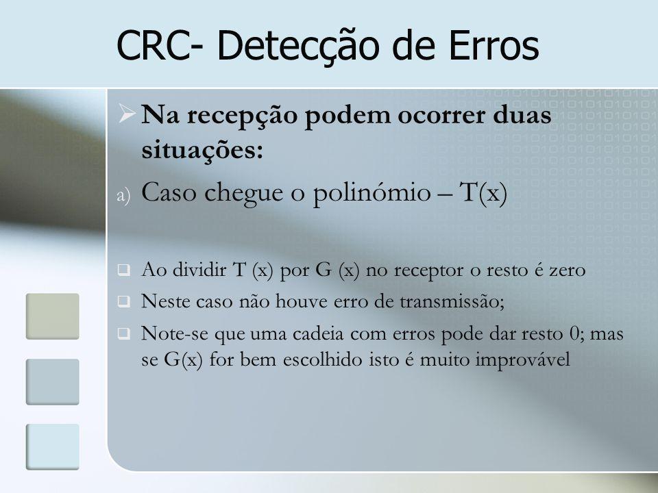 CRC- Detecção de Erros  Na recepção podem ocorrer duas situações: a) Caso chegue o polinómio – T(x)  Ao dividir T (x) por G (x) no receptor o resto