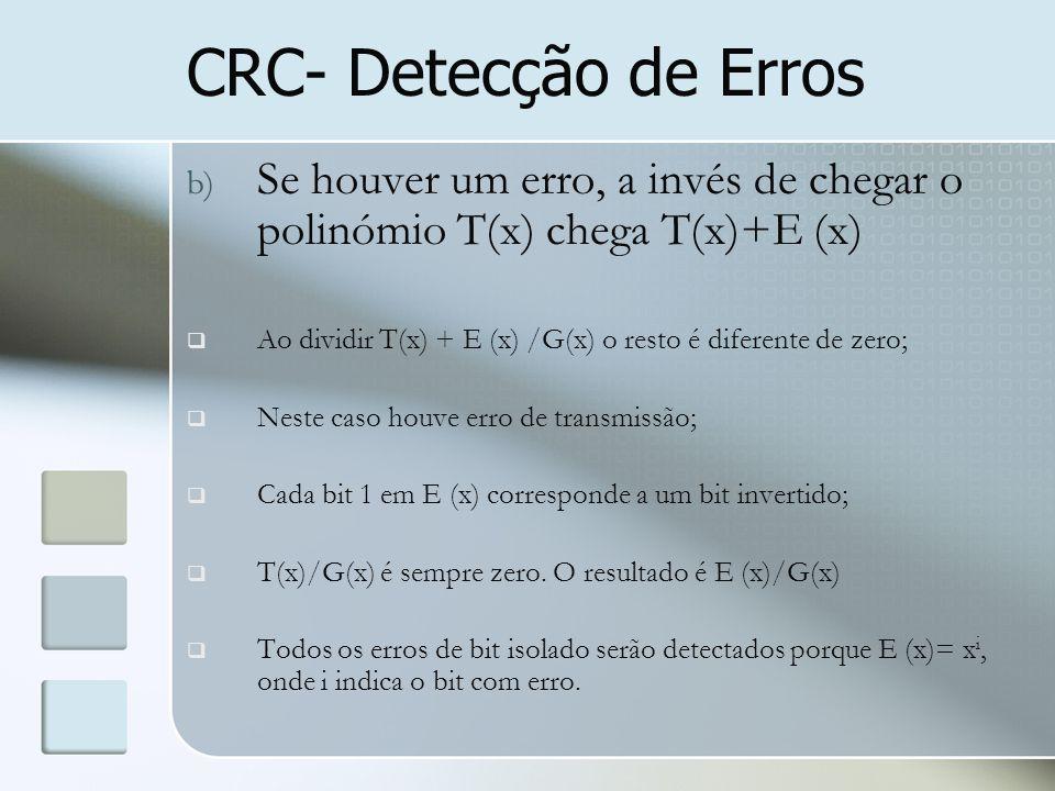 b) Se houver um erro, a invés de chegar o polinómio T(x) chega T(x)+E (x)  Ao dividir T(x) + E (x) /G(x) o resto é diferente de zero;  Neste caso ho
