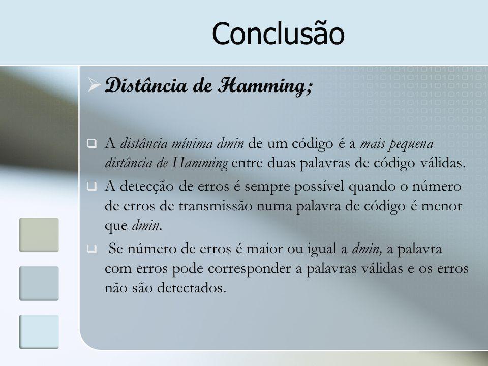 Conclusão  Distância de Hamming;  A distância mínima dmin de um código é a mais pequena distância de Hamming entre duas palavras de código válidas.