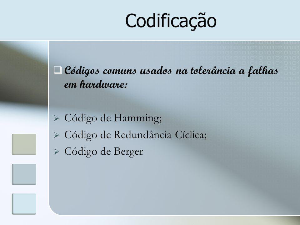 Codificação  Códigos comuns usados na tolerância a falhas em hardware:  Código de Hamming;  Código de Redundância Cíclica;  Código de Berger