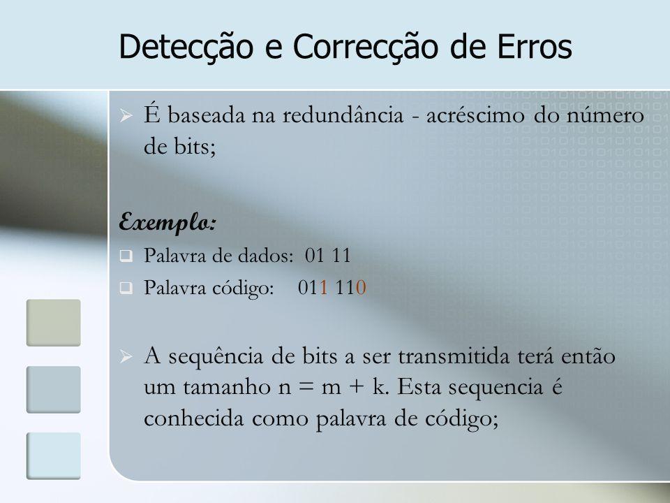 Detecção e Correcção de Erros  É baseada na redundância - acréscimo do número de bits; Exemplo:  Palavra de dados: 01 11  Palavra código: 011 110 