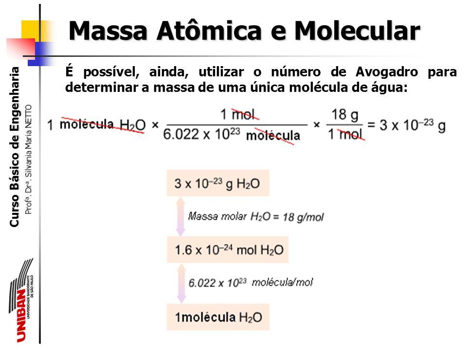 Curso Básico de Engenharia Prof a. Dr a. Silvania Maria NETTO 18 g de H 2 O 2 g de H e 16 g de O Massa Molar da água 18 g/mol Massas Molares H = 1 g/m