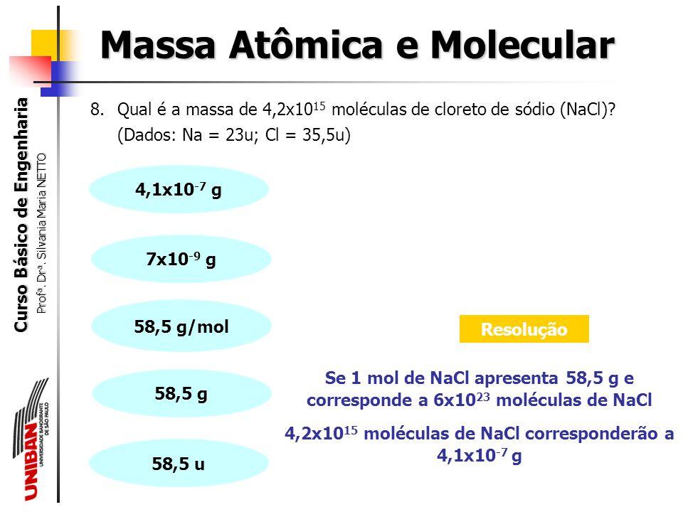Curso Básico de Engenharia Prof a. Dr a. Silvania Maria NETTO 7.Qual a massa correspondente a um único átomo de alumínio (Al)? (Dados: Al = 27u) Massa