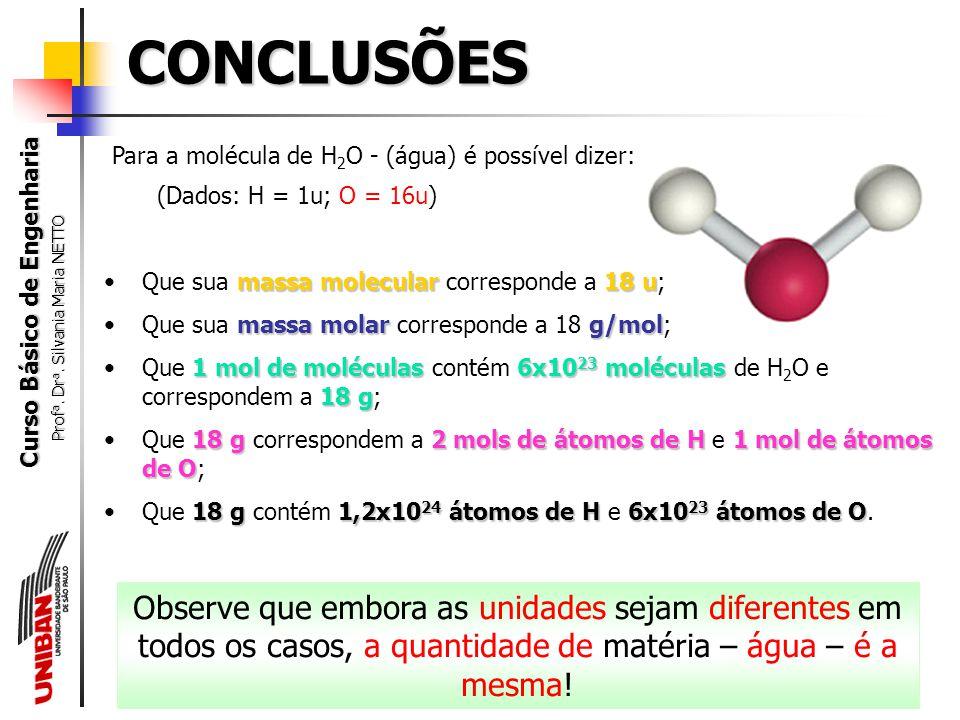 Curso Básico de Engenharia Prof a. Dr a. Silvania Maria NETTO molNúmero de Avogadro (6,02x10 23 ) permite aos químicos converter as microscópicas unid