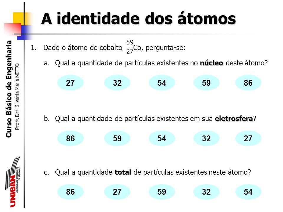 Curso Básico de Engenharia Prof a. Dr a. Silvania Maria NETTO A identidade dos átomos 12 6 C A =12  12 = n + 6  12 – 6 = n  n = 6 Z = 6, logo n p =
