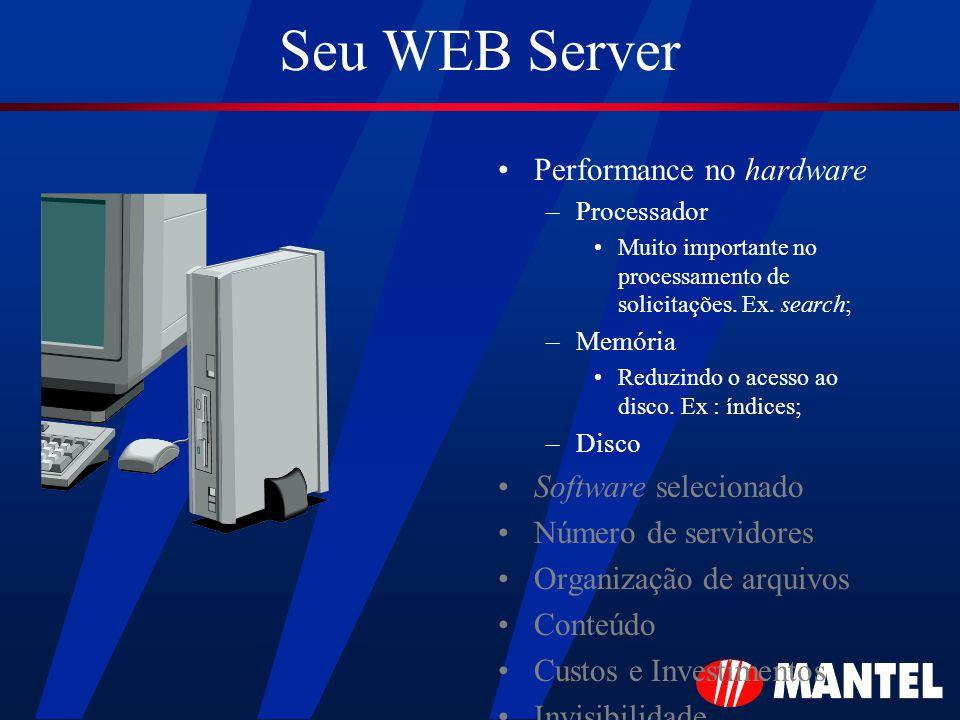 Seu WEB Server Performance no hardware –Processador Muito importante no processamento de solicitações.