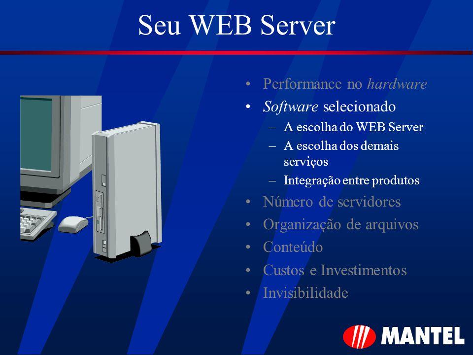 Seu WEB Server Performance no hardware Software selecionado –A escolha do WEB Server –A escolha dos demais serviços –Integração entre produtos Número de servidores Organização de arquivos Conteúdo Custos e Investimentos Invisibilidade