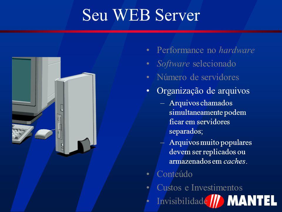 Seu WEB Server Performance no hardware Software selecionado Número de servidores Organização de arquivos –Arquivos chamados simultaneamente podem ficar em servidores separados; –Arquivos muito populares devem ser replicados ou armazenados em caches.