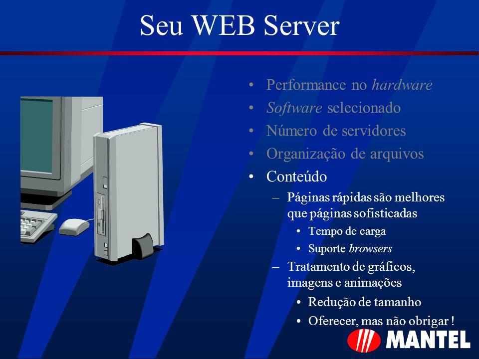 Seu WEB Server Performance no hardware Software selecionado Número de servidores Organização de arquivos Conteúdo –Páginas rápidas são melhores que páginas sofisticadas Tempo de carga Suporte browsers –Tratamento de gráficos, imagens e animações Redução de tamanho Oferecer, mas não obrigar !