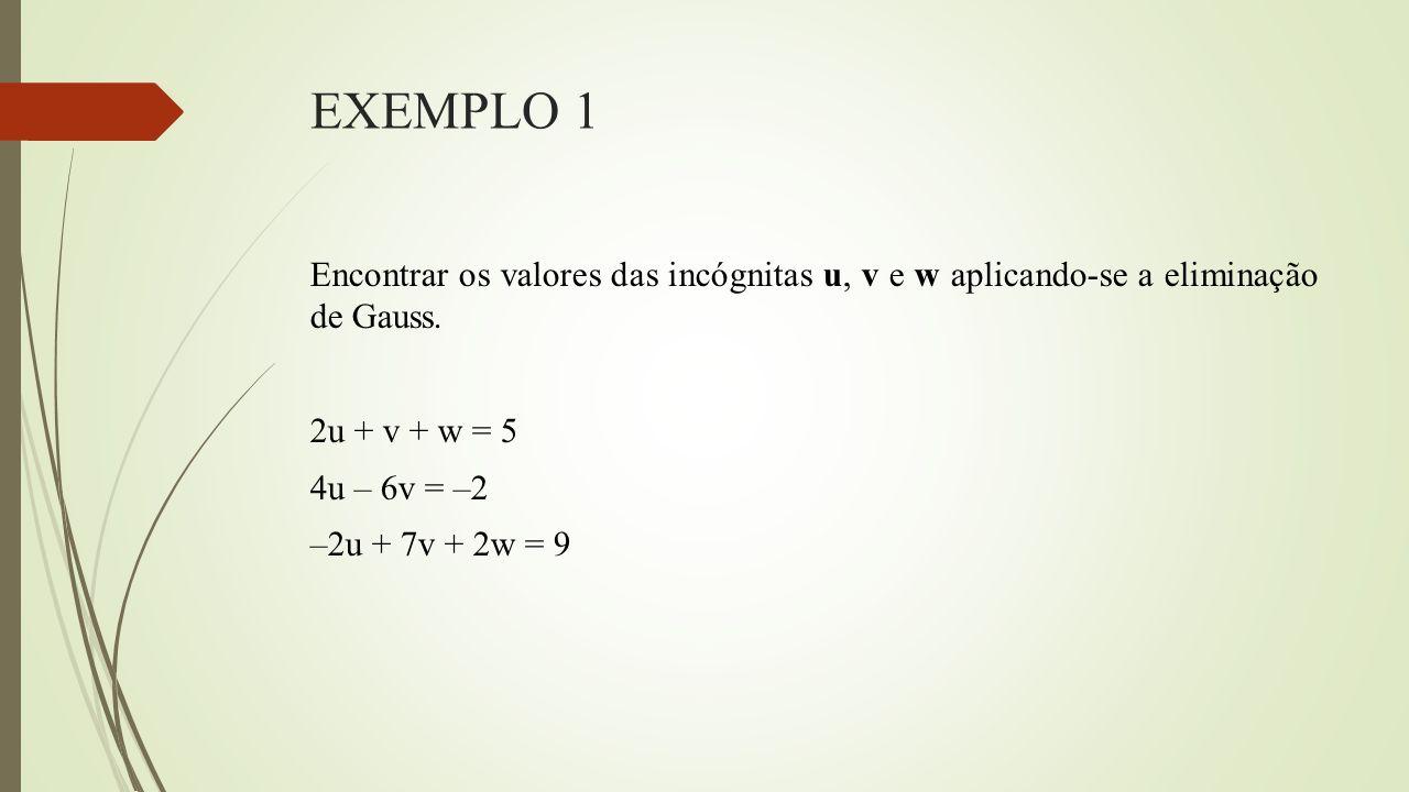 EXEMPLO 1 Encontrar os valores das incógnitas u, v e w aplicando-se a eliminação de Gauss. 2u + v + w = 5 4u – 6v = –2 –2u + 7v + 2w = 9