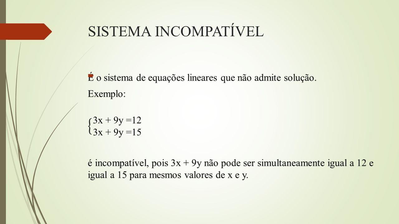 SISTEMA INCOMPATÍVEL  3x + 9y =12 3x + 9y =15