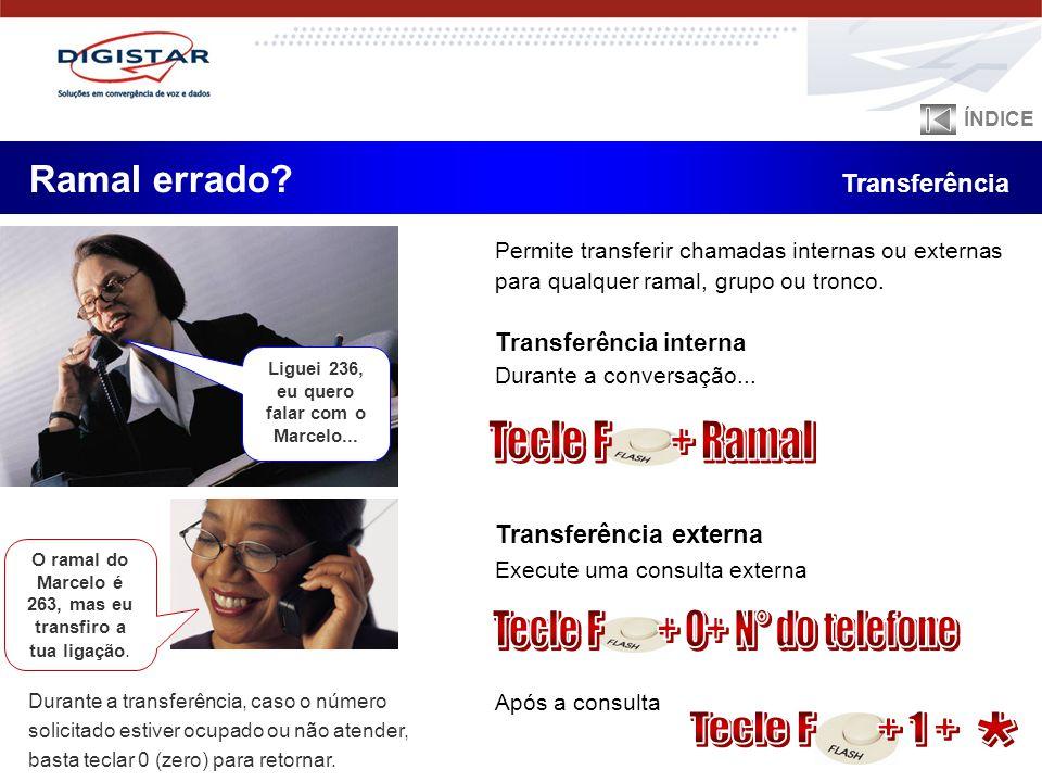 Durante a transferência, caso o número solicitado estiver ocupado ou não atender, basta teclar 0 (zero) para retornar. Transferência interna Durante a