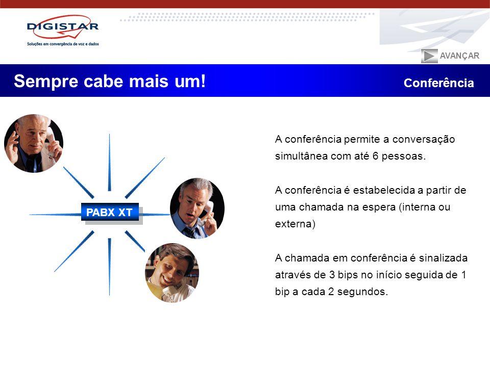 A conferência permite a conversação simultânea com até 6 pessoas. A conferência é estabelecida a partir de uma chamada na espera (interna ou externa)