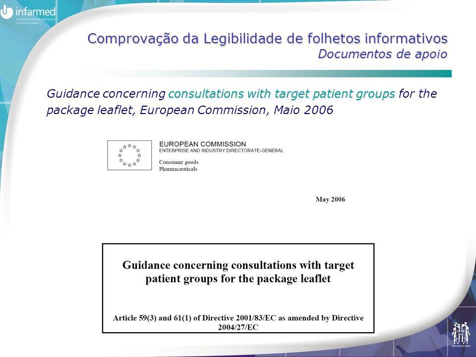 Comprovação da Legibilidade de folhetos informativos Documentos de apoio consultations with target patient groups Guidance concerning consultations wi