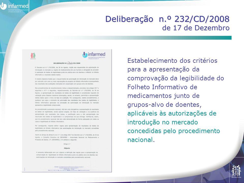 Deliberação n.º 232/CD/2008 de 17 de Dezembro aplicáveis às autorizações de introdução no mercado concedidas pelo procedimento nacional. Estabelecimen