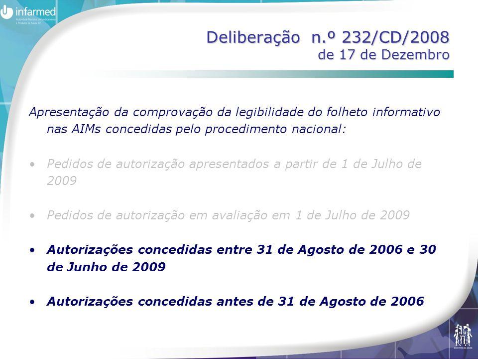 Deliberação n.º 232/CD/2008 de 17 de Dezembro Apresentação da comprovação da legibilidade do folheto informativo nas AIMs concedidas pelo procedimento nacional: Pedidos de autorização apresentados a partir de 1 de Julho de 2009 Pedidos de autorização em avaliação em 1 de Julho de 2009 Autorizações concedidas entre 31 de Agosto de 2006 e 30 de Junho de 2009 Autorizações concedidas antes de 31 de Agosto de 2006