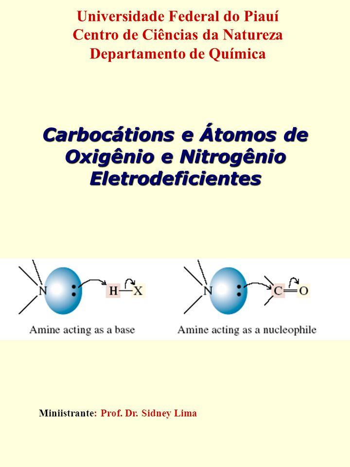 Carbocátions e Átomos de Oxigênio e Nitrogênio Eletrodeficientes Miniistrante: Prof. Dr. Sidney Lima Universidade Federal do Piauí Centro de Ciências