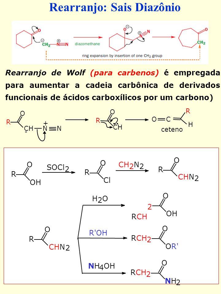 Rearranjo de Wolf (para carbenos) é empregada para aumentar a cadeia carbônica de derivados funcionais de ácidos carboxílicos por um carbono) O R OH S