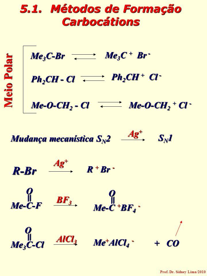 5.1. Métodos de Formação Carbocátions Me 3 C-Br Me 3 C + Br - Ph 2 CH - Cl Ph 2 CH + Cl - Me-O-CH 2 - Cl Me-O-CH 2 + Cl - Meio Polar Mudança mecanísti